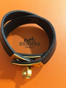 HERMES Black Leather Kelly Double Tour Bracelet w Box Size Small 14.5