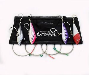 Rigged Wahoo Lure Pack - 4 pcs- Tuna Dorado Marauder Lures MagBay + Bag