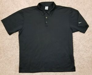 Large Nike Fit Dry Black Polyester Polo Shirt
