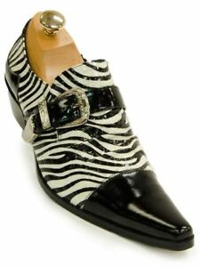 Fiesso Mens Black White Leather Zebra Design Monk Buckle Slip on Dress Shoe