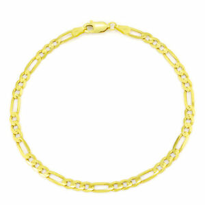 10K Yellow Gold 4.5mm Figaro Chain Bracelet Lobster Clasp Mens Women 7