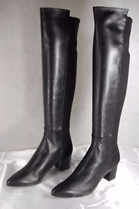 Stuart Weitzman '5050' BLACK LEATHER&FABRIC STRETCH  OVER THE KNEE BOOTS SIZE 8