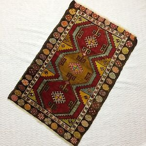 Antique Turkish Hand Knotted Rug Runner Red Gold Wool 34