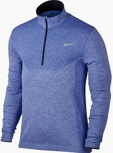 NIKE GOLF Dri Fit Seamless Knit 12 Zip Blue Grey LS Top Shirt NEW Mens Sz 2XL