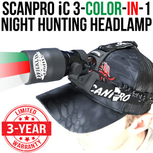 Wicked Lights ScanPro IC 3-Color-In-1 (Green Red White) Night Hunting Headlamp