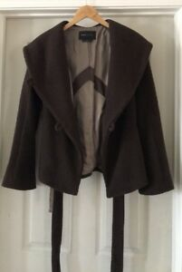 BCBG Max Azria Mahogony Brown Wool Basket Weave Belted Hooded Wrap Coat XS EUC $100.00