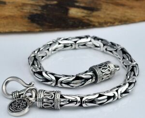 Tribal rock 925 sterling silver men chain bracelet  vintage punk tattoo design