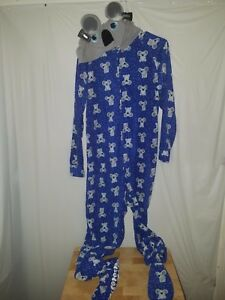Joe Boxer JB M Footsie Footed Fleece Hooded Koala Womens  Juniors Pajamas PJs
