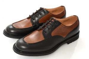 NEW CHURCH'S PLUMLEY Leather Dress Shoes Two Tone Lace Up UK8.5 Black x Brown