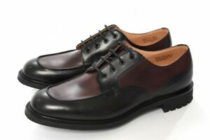 NEW CHURCH'S PLUMLEY Leather Dress Shoes Two Tone Lace Up UK8.5 Black x Bordeaux