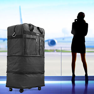 30quot; Rolling Wheeled Duffel Bag Spinner Suitcase Luggage Expandable in Black