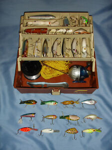 Vintage PLANO Tackle Box Full Of Vintage & Older Lures Plus Fishing Supplies