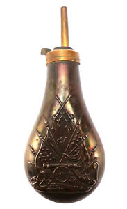 Colt Navy Style black Powder Flask vtg brass copper Civil War Theme musket rifle