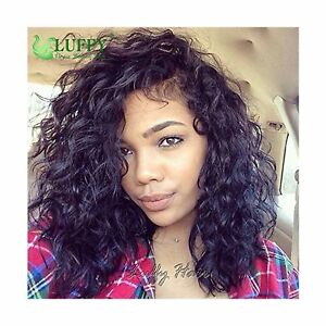LUFFYWIG Short Curly Lace Front Wigs Bob Hairstyles Deep Wave 6inch Parting V...