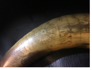 VERY OLD possibly early American powder horn w etchings of symbols