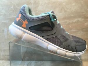 Under Armour Teal Grey Running Walking Crossfit Training Shoes Ladies Size 9