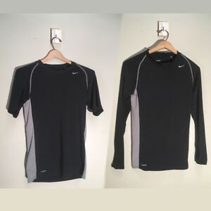 Two NikeFit Nike Athletic Wear Dryfit Shirts  YOUTH L  Long & Short Sleeve