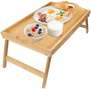 Greenco Bamboo Foldable Breakfast Table Laptop Desk Bed Table Serving Tray