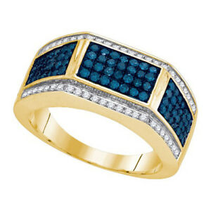 10K Yellow Gold 1.00ctw Glamorous Pave Blue Diamond Mens Rectangle Fashion Ring