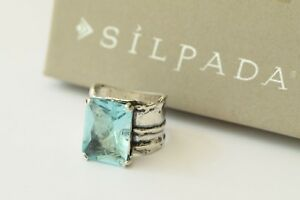 Silpada Aqua Glass Sterling Silver Size 7 Stunning Artisan Cocktail Ring R1608