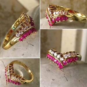 Vintage Natural Ruby Cocktail Ring Sterling Silver Gold Tone w Clear Stones Sz 7