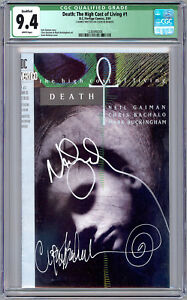 DEATH: THE HIGH COST OF LIVING #1 CGC 9.4 SIG NEIL GAIMAN CHRIS BACHALO COA 1993