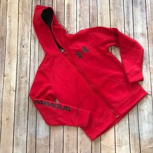 Under Armour Red Black Hoodie Small Youth Jacket 7 8 Boys Girls Athleisure