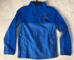 UNDER ARMOUR BOYS Phenom 14 Zip HOODIE FLEECE JACKET BLUE $55 1299359 SZ S M