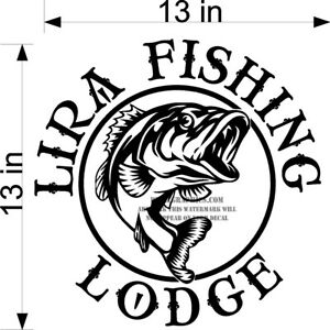 CUSTOM VINYL DECAL YOUR NAME BASS FISH FOR BOAT LODGE CABIN NEW!