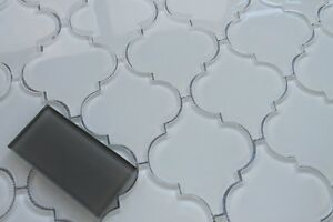 Snow White Arabesque Glass Mosaic Tiles - Kitchen BacksplashBathroom Tile