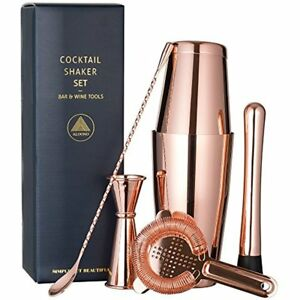Copper Plated Boston Cocktail Shaker Bar Set: 18oz & 28oz Tins Hawthorne Double