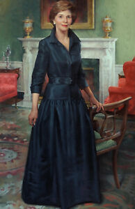 Laura Bush Official US First Lady Portrait American Painting Art Canvas Print $24.97