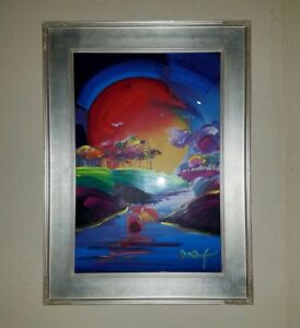 PETER MAX - WITHOUT BORDERS Original Painting 24x36 Mixed Media Hand Signed