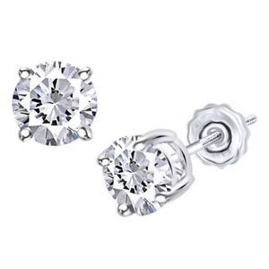 Solitaire Stud Earrings For Women's 14k Gold Round Real Diamond
