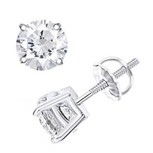 Solitaire Stud Earrings For Women's 14k Gold Round Natural Diamond 0.50 Cttw
