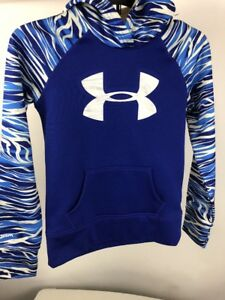 Kids Girls Boys Youth Under Armour Hoodie Green Blue Loose Medium (A85)