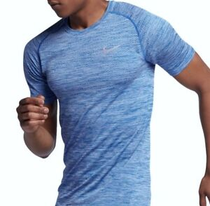 NIKE Dry Dri Fit Knit Hydrogen Blue SS Running Training Shirt NEW Mens Sz M XL