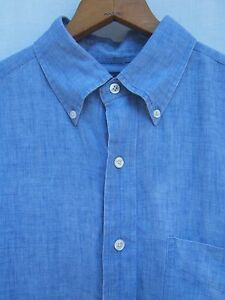 Brooks Brothers Mens L 346 Blue Linen Casual Sport Shirt Button-Down Collar $105
