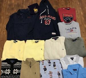 Lot Of Vintage Polo Sport Polo Jeans 90's Spell Out Crewnecks Re Sell Chaps RL