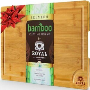 Large Bamboo Kitchen Cutting Board - Wood Chopping Board / Butcher Block, 18x 12