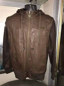 Brown Jacket Coat Vest Hoodie Men's Size Large Wool Faux Leather $130