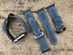 Genuine Blue Leather Watch Strap Bracelet Band For Apple Watch 42mm Black Fixing