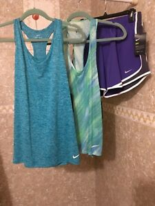 NWT Nike Women 3 piece set Ultra Dry Tank Top and Dry Running Shorts Large $95