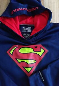 UNDER ARMOUR Boys (YLGL) Pullover Hooded Sweatshirt - STORM - Superman