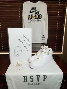 Nike Air Force 1 High Just Don AF100 Size 10 Signed by Don Exclusive T-Shirt