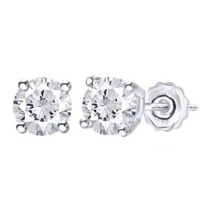 Solitaire Stud Earrings For Women's 14k Gold Round Natural Diamond 0.33 Cttw