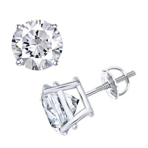 Solitaire Stud Earrings For Women's 18k Gold Over Round Natural Diamond