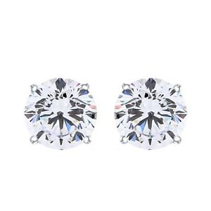 Solitaire Studs Earrings For Women's 14k Gold Round Genuine Diamond