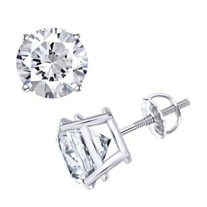 Solitaire Stud Earrings For Women's 18k Gold Round Genuine Diamond