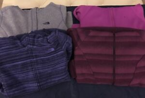 Lot Of 4 Women's North Face And Under Armour Hoodies Front Zipper Jackets Medium